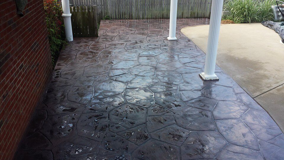 Brown-Red, stamped concrete patio